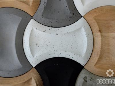 core, beton architektoniczny 3d, beton na ściane, drewno i beton, drewno 3d, płytki betonowe