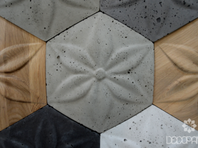 fancy, beton architektoniczny 3d, beton na ściane, drewno i beton, drewno 3d, płytki betonowe