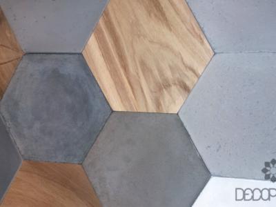 hekasagon płytki decopanel, drewnno 3d, beton 3d