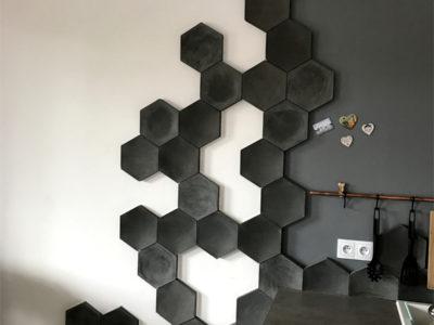heksagony decopanel, beton architektoniczny 3D, szare heksagony