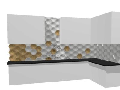 Kuchnia z heksagonami betonowymi i drewnianymi