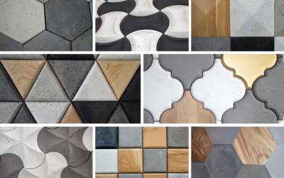 płytki betonowe 3D decopanel, beton 3d, beton architektoniczny, beton i drewno