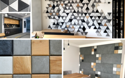 płytki betonowe 3d, beton architektoniczny decopanel, kwadraty i trójkąty
