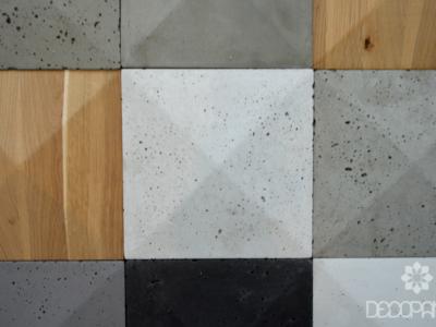 pike, beton architektoniczny 3d, beton na ściane, drewno i beton, drewno 3d, płytki betonowe