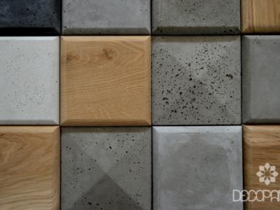 square, beton architektoniczny 3d, beton na ściane, drewno i beton, drwno 3d, płytki betonowe