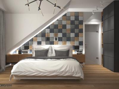 sypialnia beton, drewno, decopanel, beton i drewno, beton na ścianę, beton architektoniczny, producent betonu, płytki betonowe 3d, betonowe płytki
