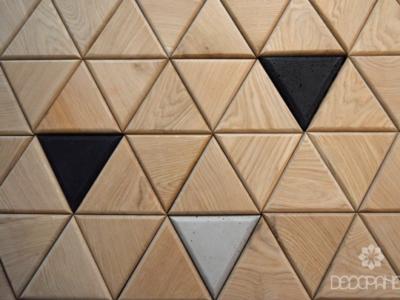 trójkąty drewniane, trójkąty dębowe, trójkąty betonowe, dekory drewniane, drewno design, drewno do wnętrz