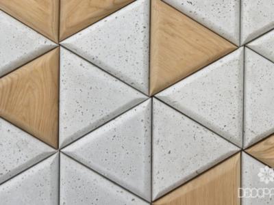 triangle białe idrewniane producent decopanel, beton architektoniczny drewno, trójkąty 3D