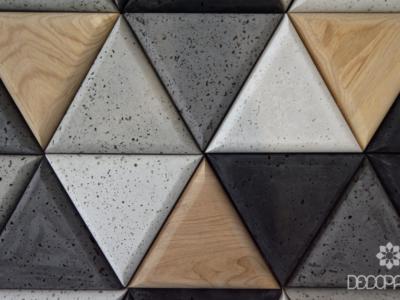 triangle decopanel, beton architektoniczny drewno, trójkąty 3D
